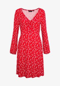 Dorothy Perkins - DITSY RUCHED DETAIL FIT AND FLARE DRESS - Trikoomekko - red - 4