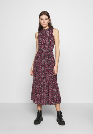 DITSY SMOCK MIDI DRESS - Jersey dress - black
