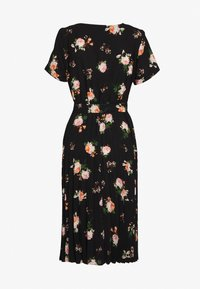 Dorothy Perkins - FLORAL SLEEVE KEYHOLE PLEATED MIDI DRESS - Denní šaty - black