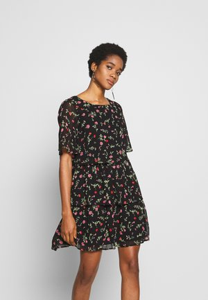 FLORAL TRIPLE TIER SHORT SLEEVE DRESS - Day dress - black