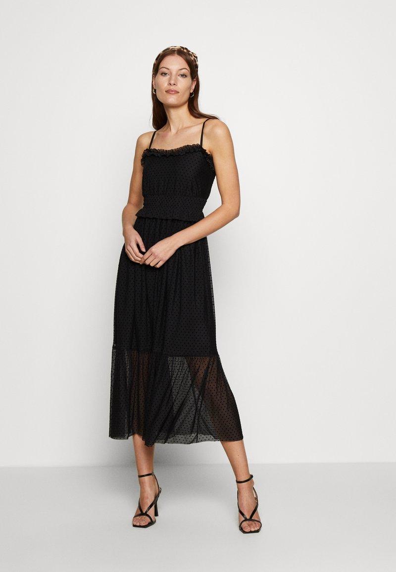 Dorothy Perkins - FLOCKED STRAPPY MIDI - Cocktail dress / Party dress - black