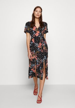 FLORAL FRONT TEA DRESS MIDI DRESS - Day dress - black