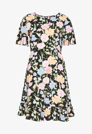 FLORAL SLEEVE EMPIRE SEAM FIT AND FLARE DRESS - Day dress - black