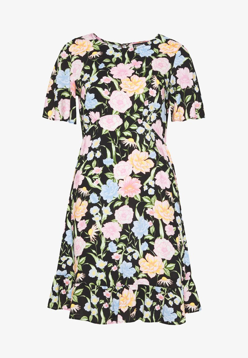 Dorothy Perkins - FLORAL SLEEVE EMPIRE SEAM FIT AND FLARE DRESS - Denní šaty - black