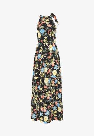 FLORAL TIE NECK DRESS - Robe longue - black
