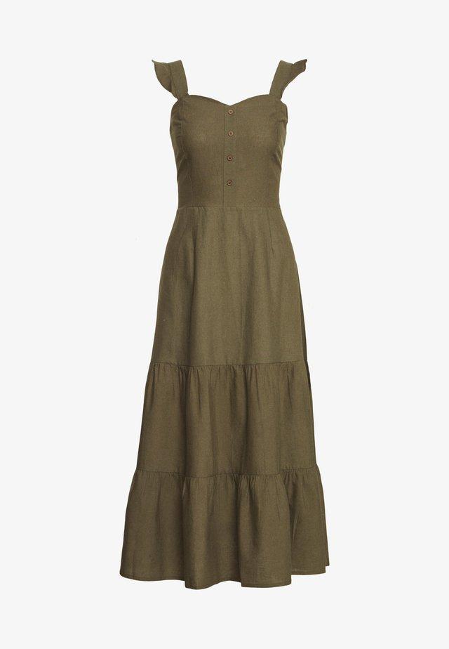 FRILL STRAP MIDI DRESS - Korte jurk - khaki