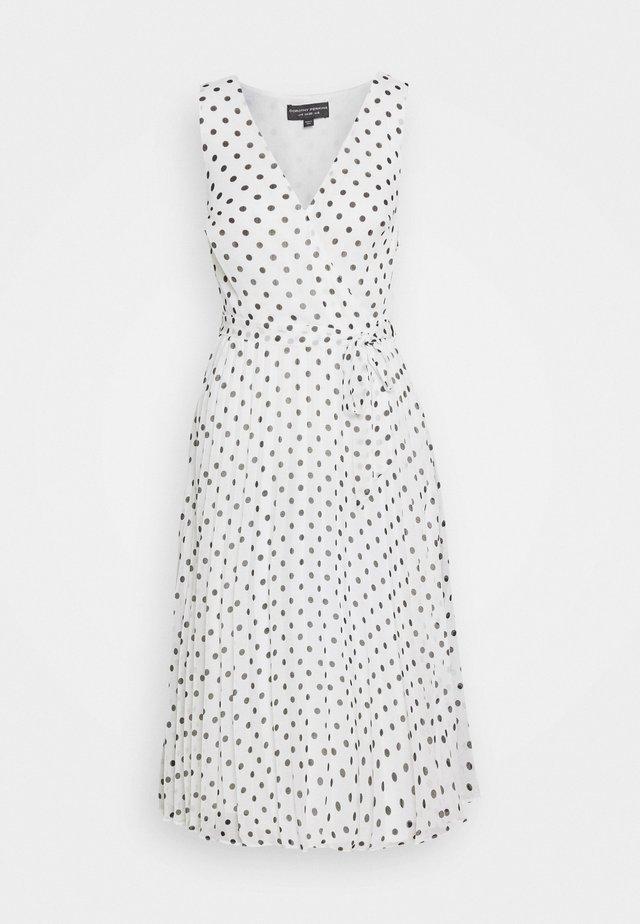 SPOT WRAP PLEATED MIDI DRESS - Day dress - ivory