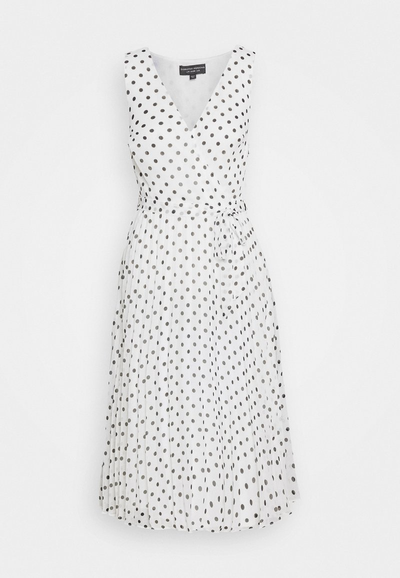 Dorothy Perkins - SPOT WRAP PLEATED MIDI DRESS - Sukienka letnia - ivory