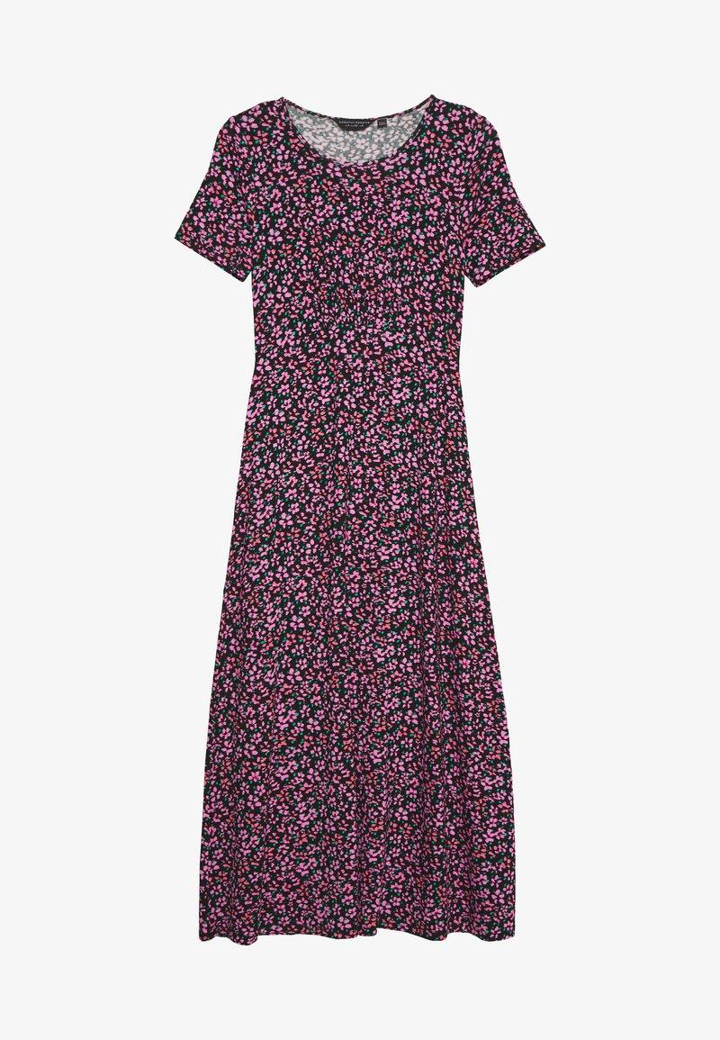 Dorothy Perkins - FLORAL EMPIRE SEAM MIDI DRESS - Jersey dress - black