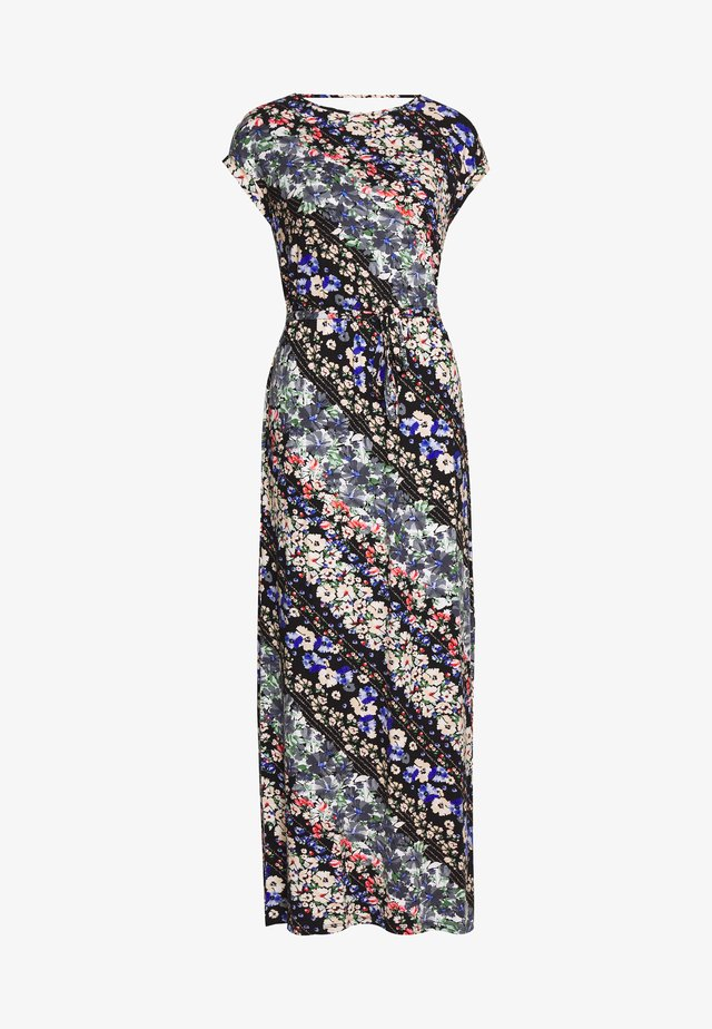MULTI FLORAL ROLL SLEEVE DRESS - Maxi dress - blue