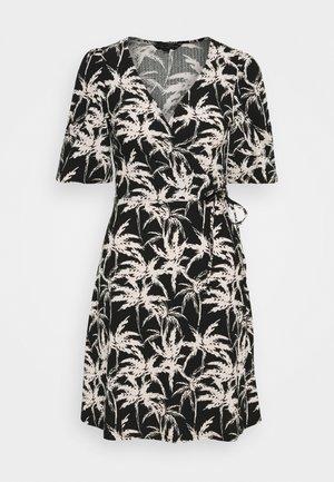 PALM FOUCHETTE WRAP DRESS - Vestido informal - black