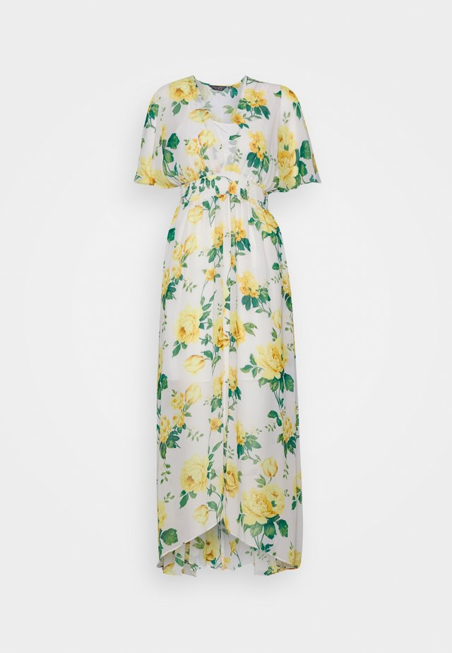 SHEERED WAIST FLORAL KIMONO DRESS - Day dress - yellow