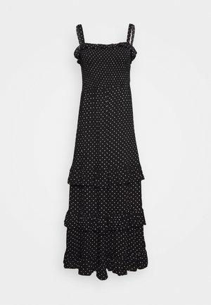 SHIRRED MIDAXI FRILL HEM SPOT DRESS - Vestido informal - black