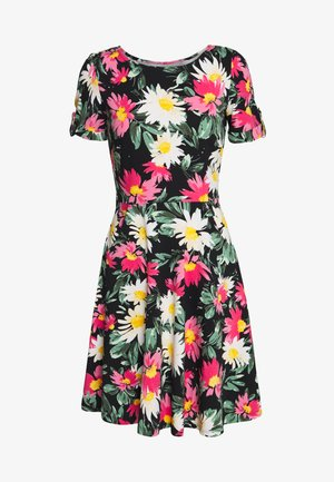 FLORAL DRESS - Jerseykjoler - black