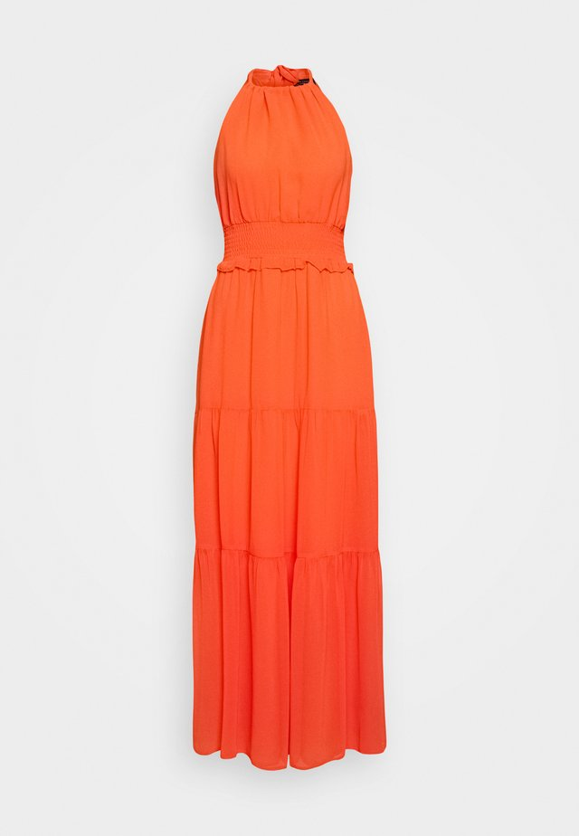 SHIRRED WAIST HALTER DRESS - Maxi dress - coral