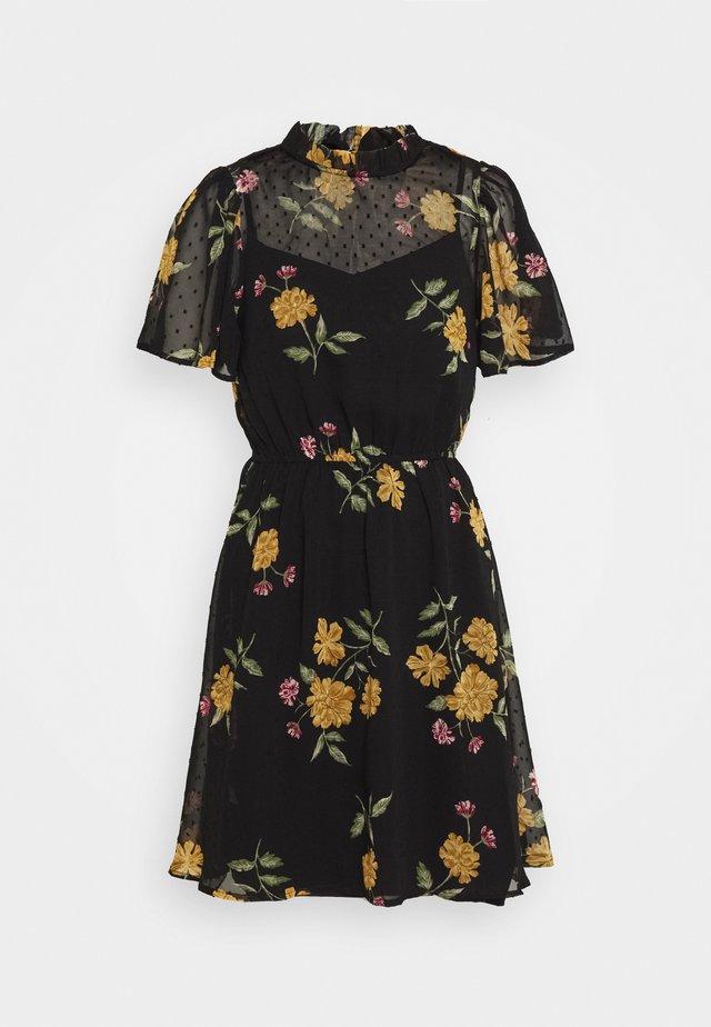 FLORAL DOBBY FLIPPY MINI DRESS - Kjole - black