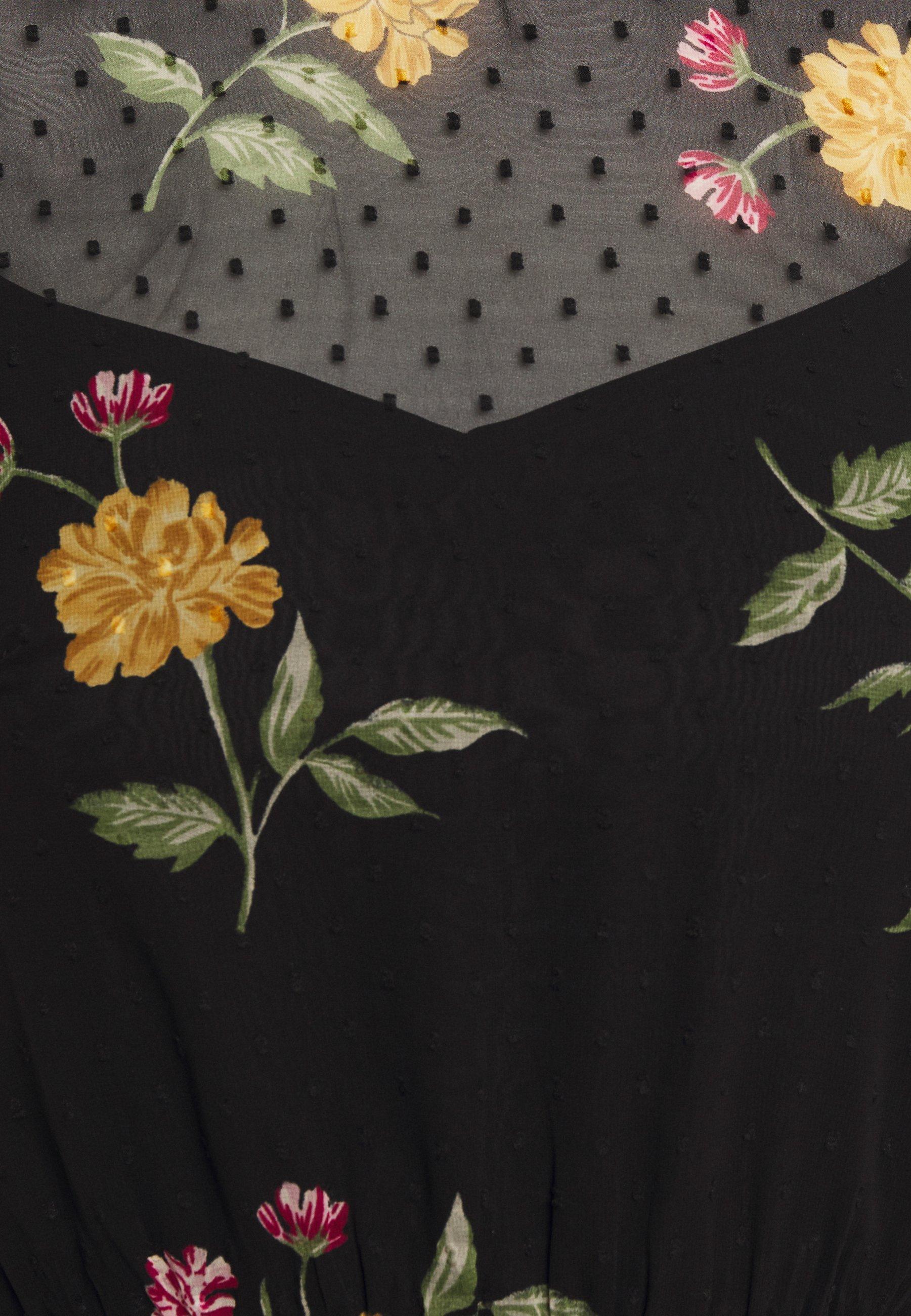 Dorothy Perkins FLORAL DOBBY FLIPPY MINI DRESS - Sukienka letnia - black
