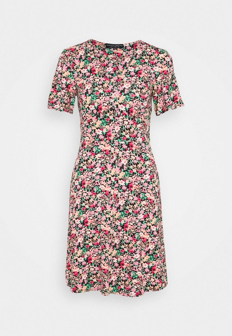 Dorothy Perkins - FLORAL CREAM BUTTON THROUGH DRESS - Jerseyjurk - cream