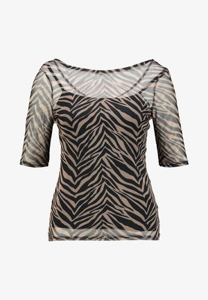 ZEBRA SCOOP BACK WITH CAMI - T-shirt med print - brown/black