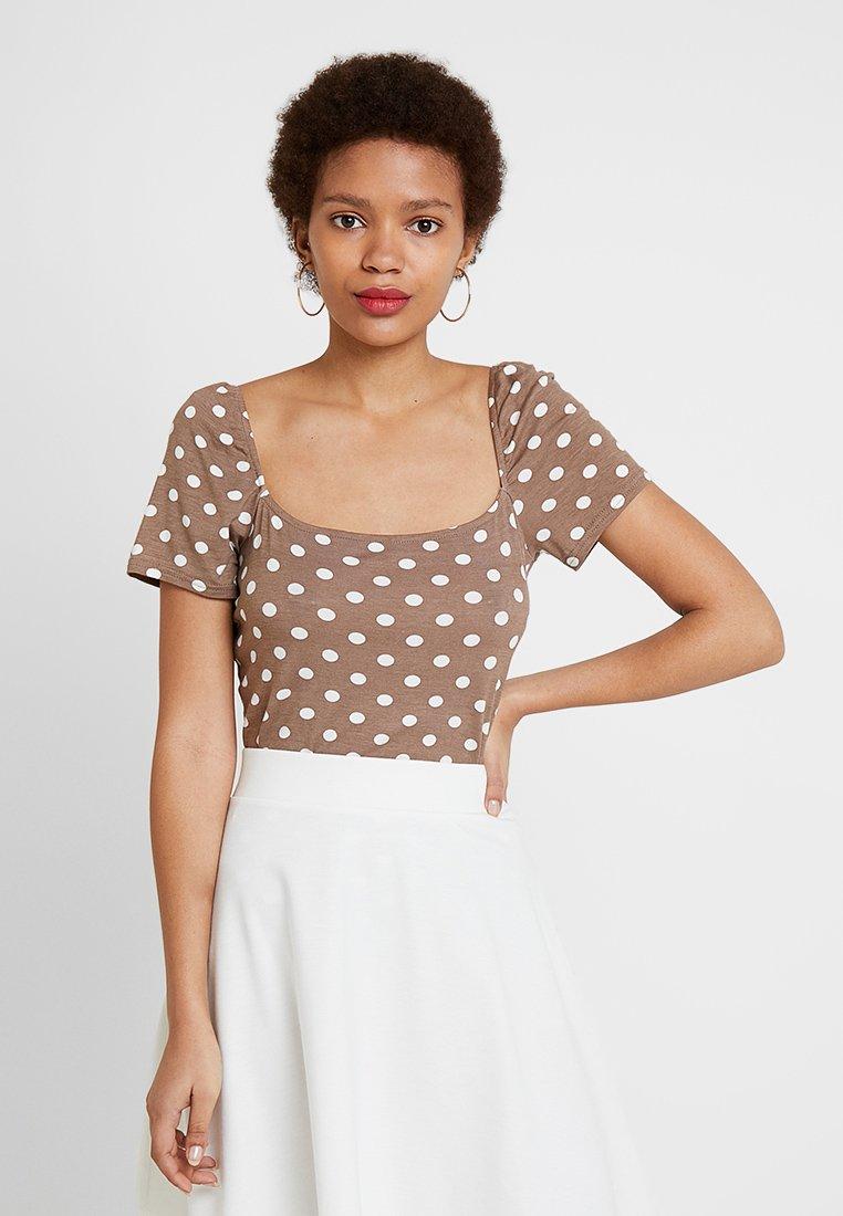 Dorothy Perkins - PRINTED MILKMAID - T-Shirt print - brown