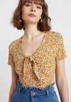 Dorothy Perkins - DITSY TIE FRONT TOP - T-Shirt print - ochre