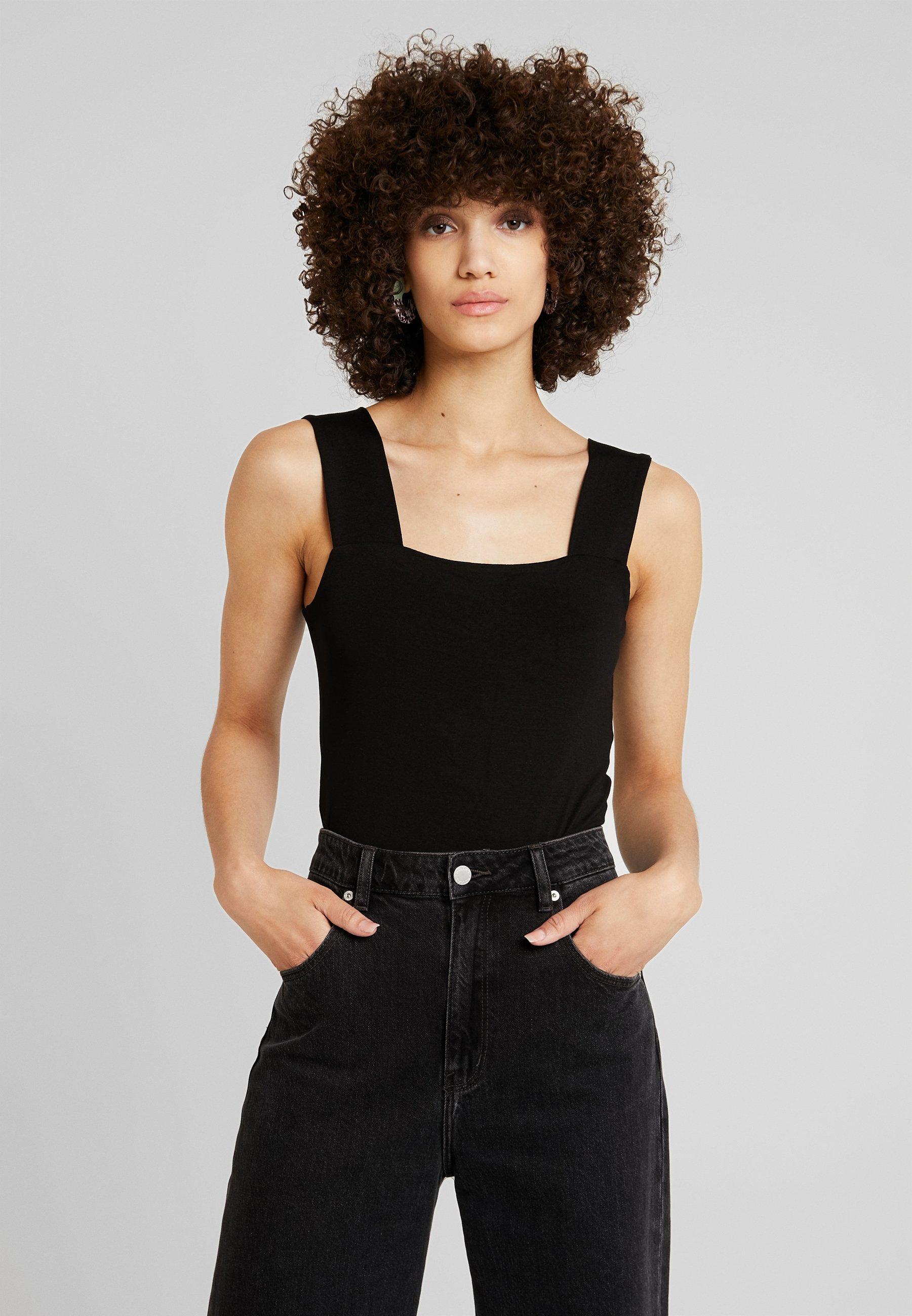 Neck BodysuitTop Square Perkins Dorothy Black IY76yfgbv