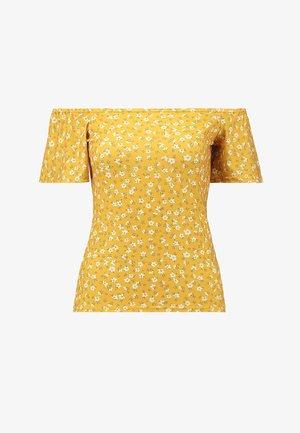 FRILL SLEEVE BARDOT - Camiseta estampada - ochre