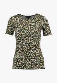 Dorothy Perkins - DITSY LETTUCE EDGE TEE - T-shirt z nadrukiem - black - 3