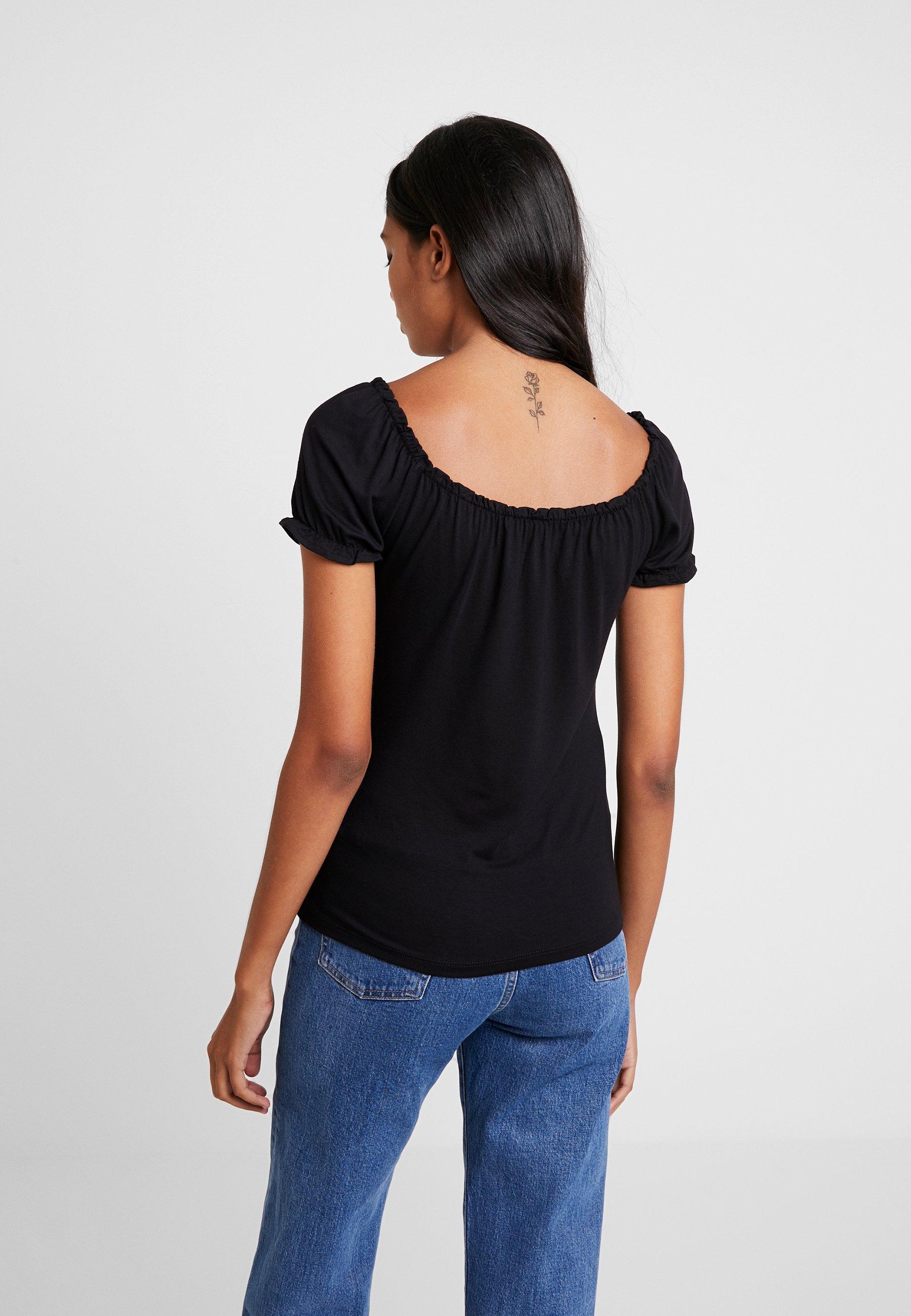 Dorothy Perkins BUTTON THROUGH PLAIN MILKMAID - T-shirt imprimé black