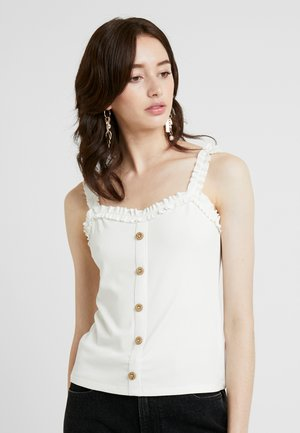 FRILL BUTTON THROUGH - Top - ivory