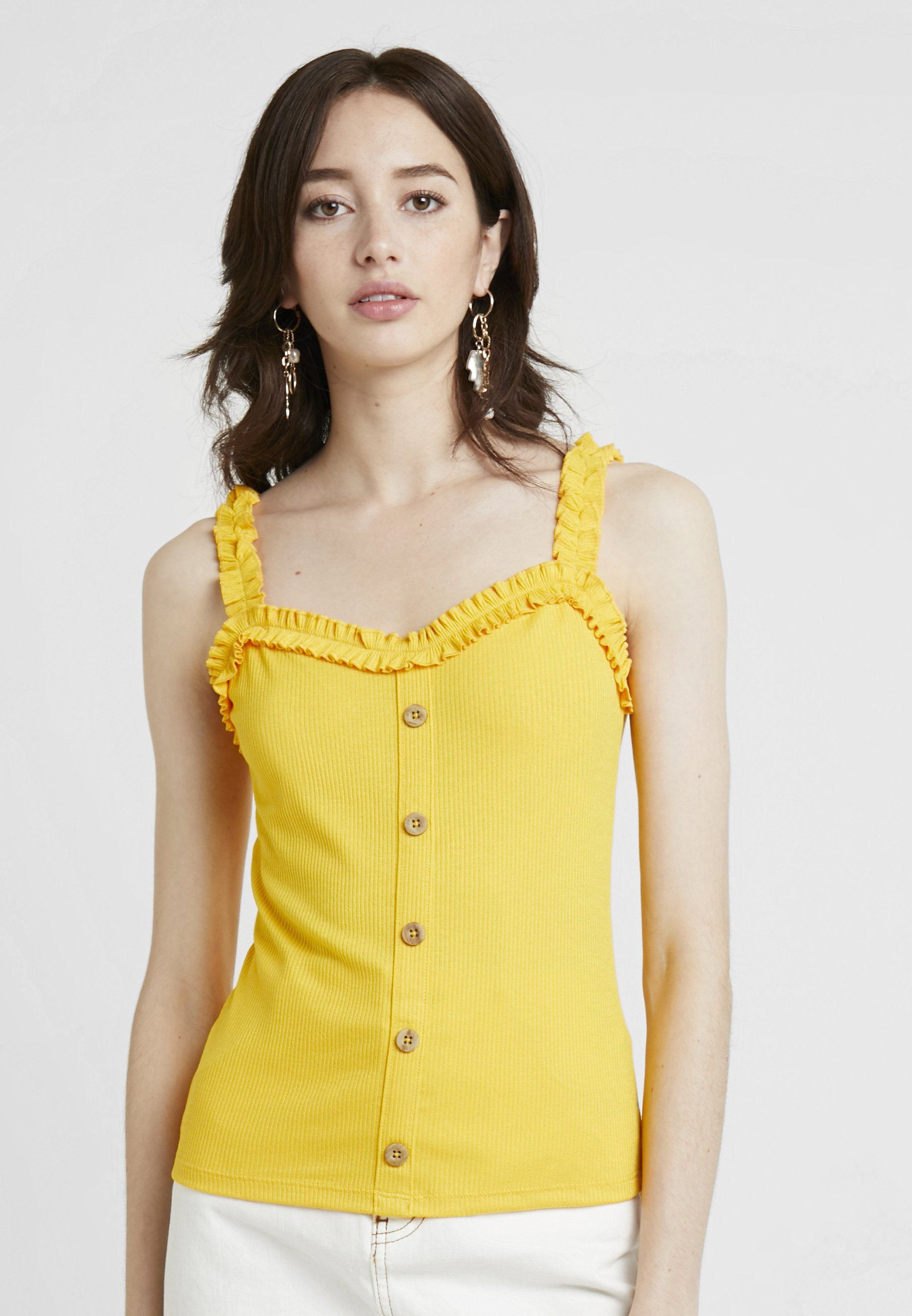 BUTTON FRILL ochre Dorothy Perkins THROUGHDébardeur mNnv80w