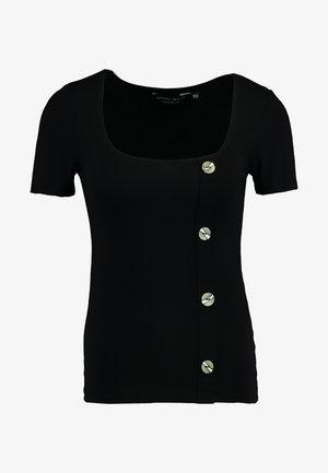 ASYMMETICAL BUTTON THROUGH - Print T-shirt - black