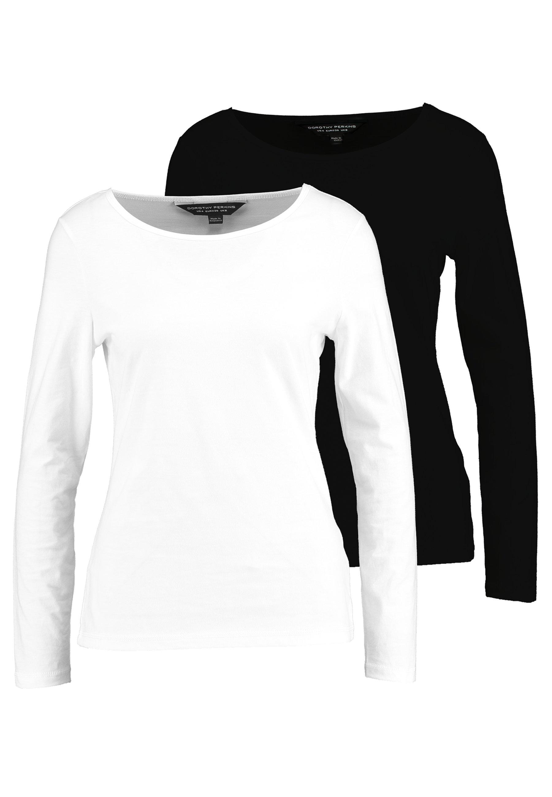 Dorothy Perkins LONG SLEEVE CREW 2 PACK - Bluzka z długim rękawem - black/white
