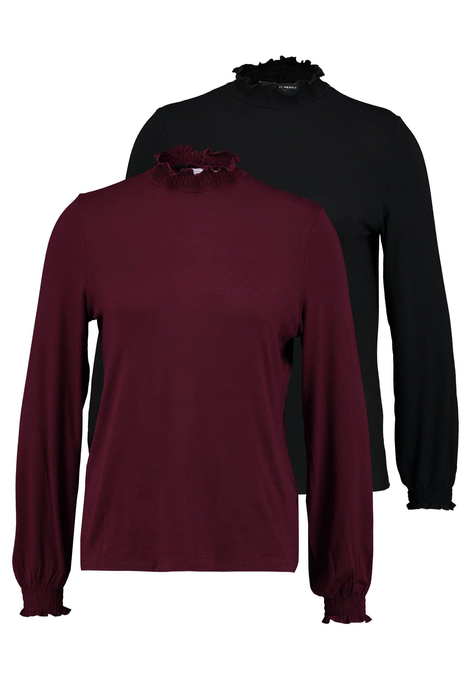Black 2 Manches Neck PackT Longues berry À Perkins Frilled Dorothy shirt 4AScjLq5R3