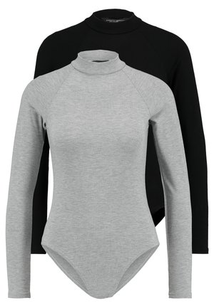 RAGLAN SLEEVES AND HIGH NECK BODYSUIT 2 PACK - Topper langermet - black/grey
