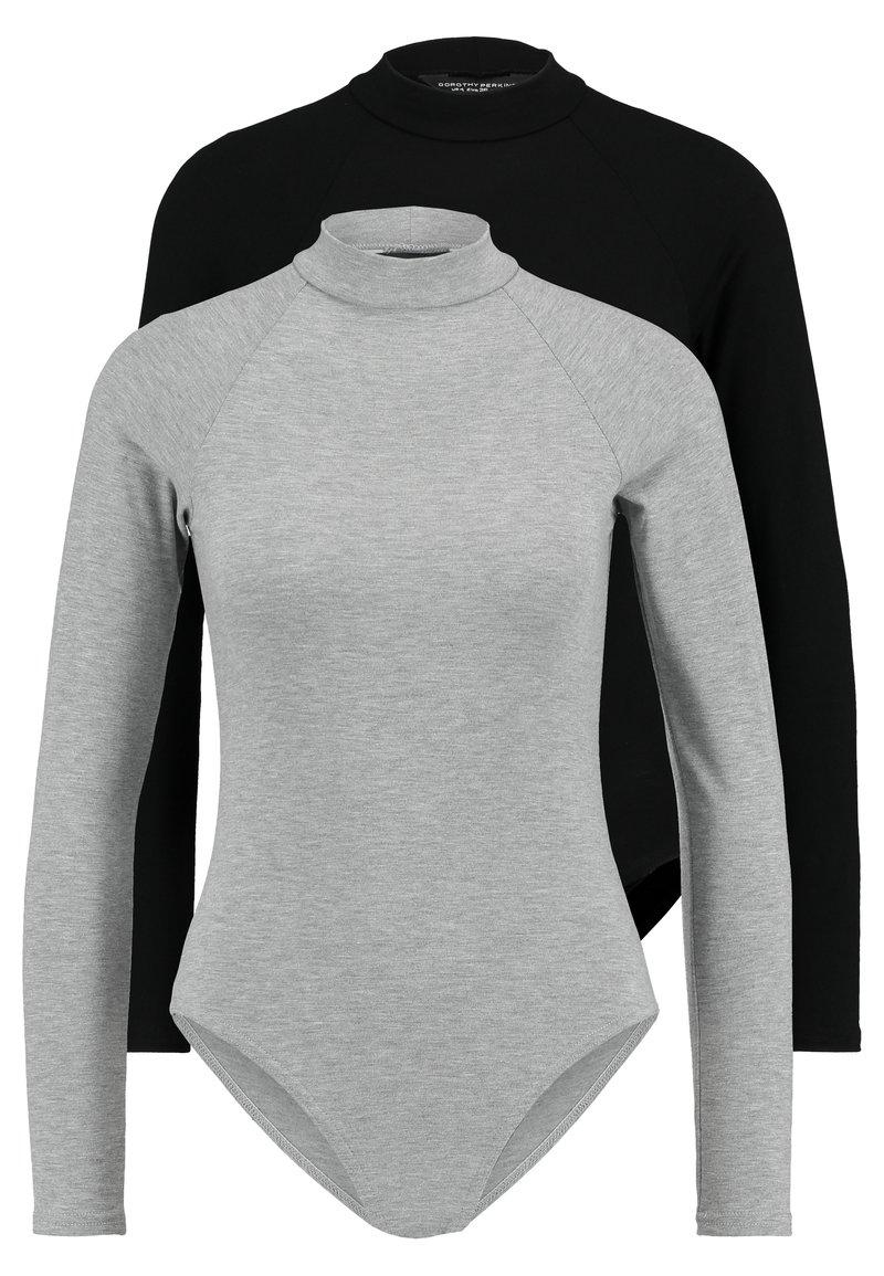 Dorothy Perkins - RAGLAN SLEEVES AND HIGH NECK BODYSUIT 2 PACK - Langærmede T-shirts - black/grey