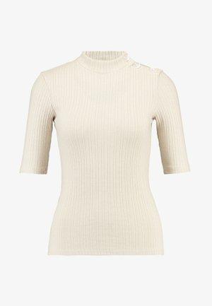 FUNNEL NECK BUTTON SHOULDER - T-shirt imprimé - oatmeal