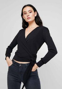 Dorothy Perkins - WRAP OVER LONG SLEEVE - Long sleeved top - black - 0
