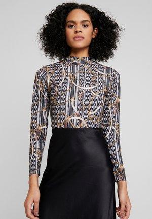 CHAIN PRINT HIGH NECK - Bluzka z długim rękawem - black