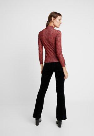 TWIST NECK FLORAL - Long sleeved top - black