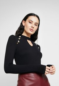 Dorothy Perkins - BUTTON CUT OUT LONG SLEEVE - Long sleeved top - black - 0