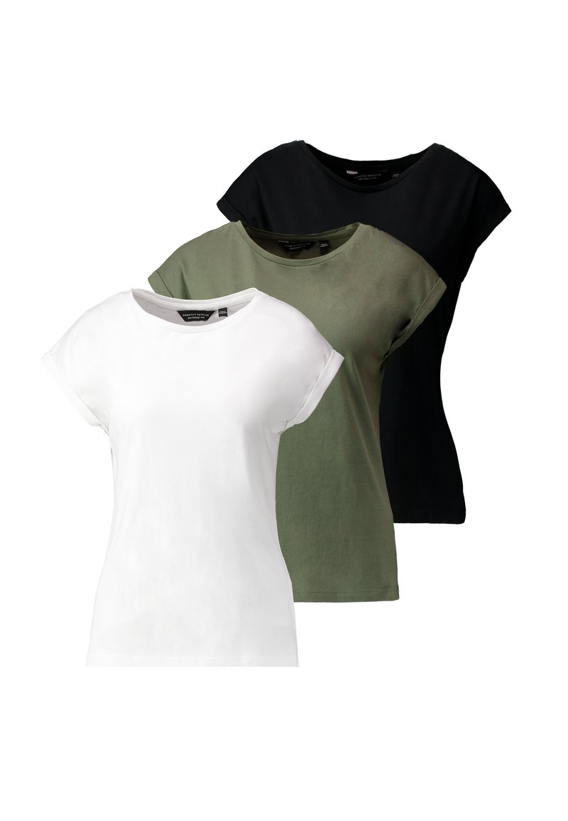 Dorothy Perkins - ROLL SLEEVE TEE 3 PACK  - Camiseta estampada - khaki/black/white
