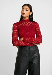Dorothy Perkins - ZIG ZAG LONG SLEEVE - Blouse - red - 0
