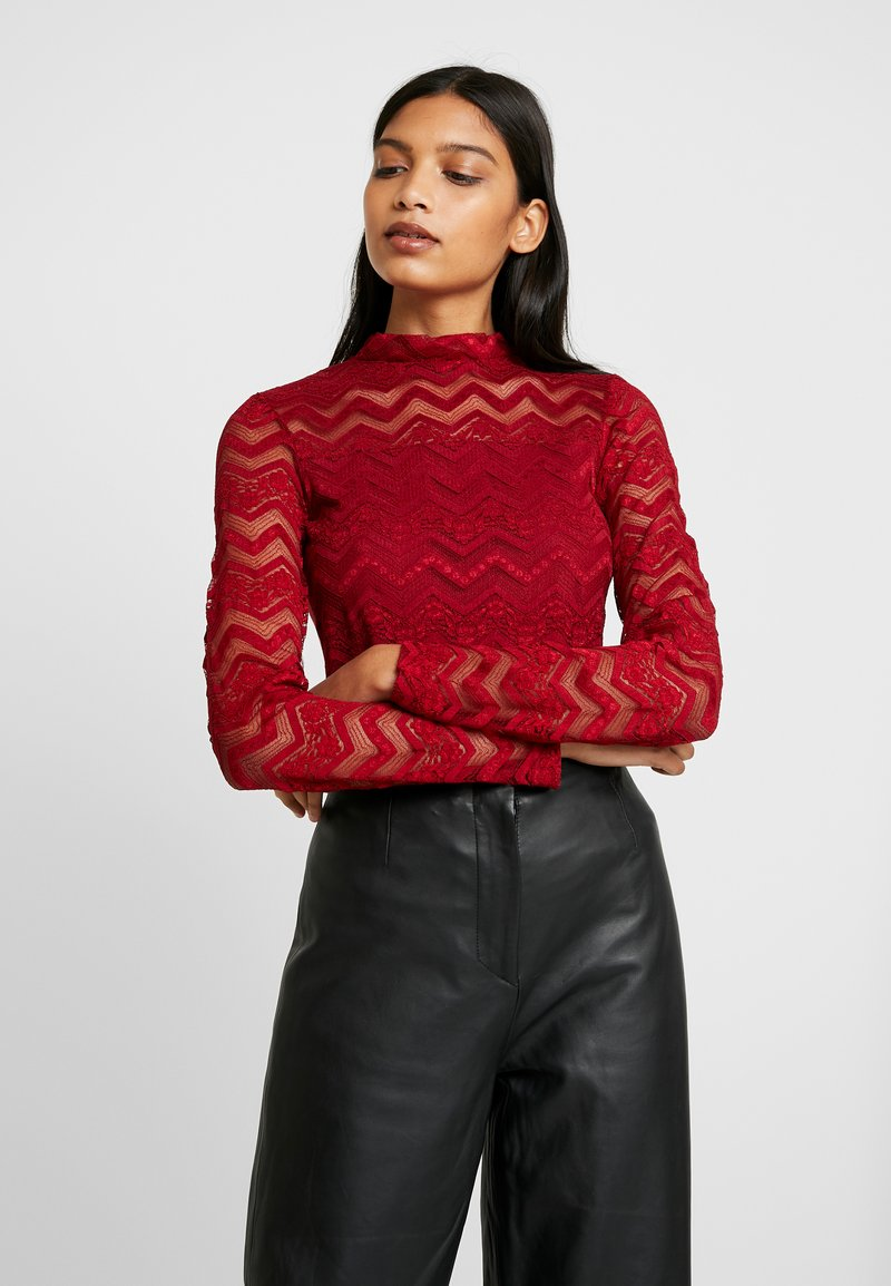 Dorothy Perkins - ZIG ZAG LONG SLEEVE - Blouse - red
