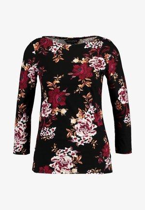 FLORAL PRINT CREW - Long sleeved top - black