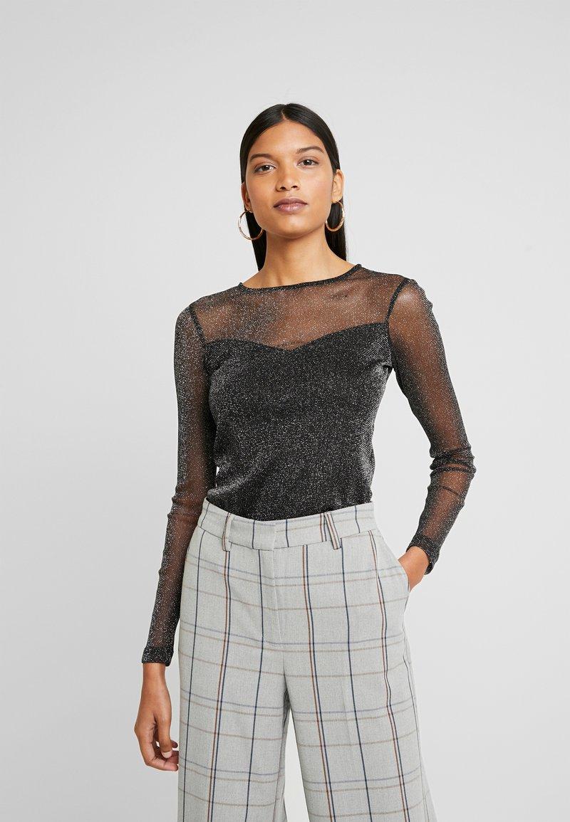 Dorothy Perkins - GLITTLER LONG SLEEVE - T-shirt à manches longues - black