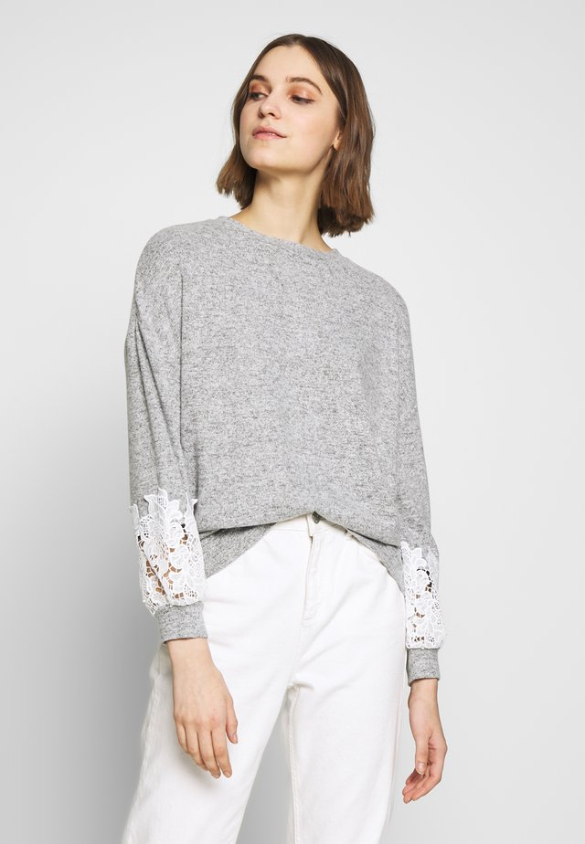 BRUSHED SLEEVE INSERT - Jersey de punto - grey marl