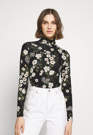 TIA FLORAL ROLL NECK - Topper langermet - black