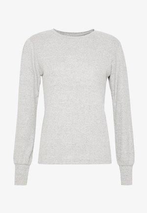 BRUSHED RIB PUFF SLEEVE CUFF TOP - Sweter - grey marl