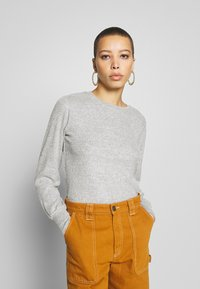 Dorothy Perkins - BRUSHED RIB PUFF SLEEVE CUFF TOP - Sweter - grey marl - 0